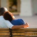 park bench couple